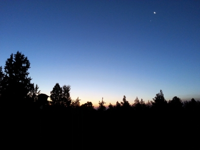 Sunrise with Moon and Jupiter